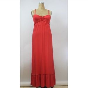 MAX STUDIO Coral Red Persimmon Long Maxi Dress XS